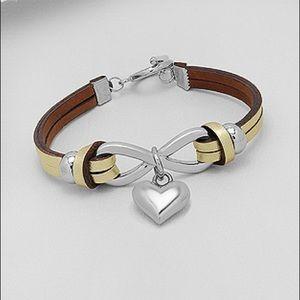 Jewelry - NEW- 💯% Leather Stainless Steel Infinity Bracelet